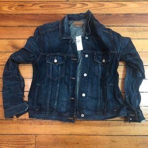 NWT Distressed Dark Wash Denim Jacket